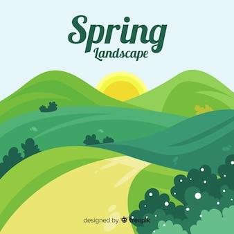 Fundo de paisagem de primavera mão desenhada