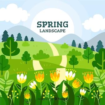 Fundo de paisagem de primavera