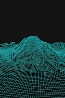 Fundo de paisagem de wireframe de vetor abstrato azul. montanhas de malha futurista 3d. ilustração retro dos anos 80. vales da tecnologia do ciberespaço.