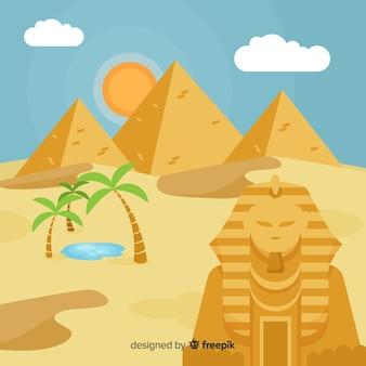 Fundo de paisagem do Egito com pirâmides e camelos
