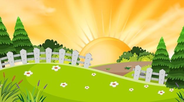 Fundo de paisagem do parque ao pôr do sol
