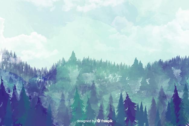 Fundo de paisagem em aquarela de floresta azul