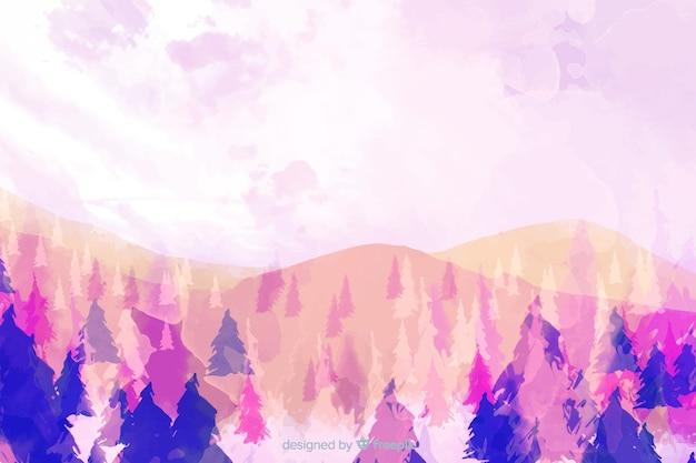 Fundo de paisagem em aquarela de floresta