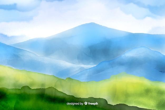 Fundo de paisagem em aquarela de montanhas