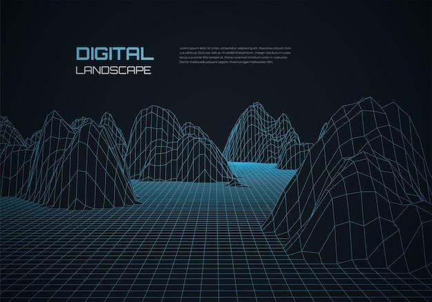 Fundo de paisagem em wireframe abstrato grade futurista do ciberespaço