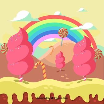 Fundo de paisagem engraçada dos doces
