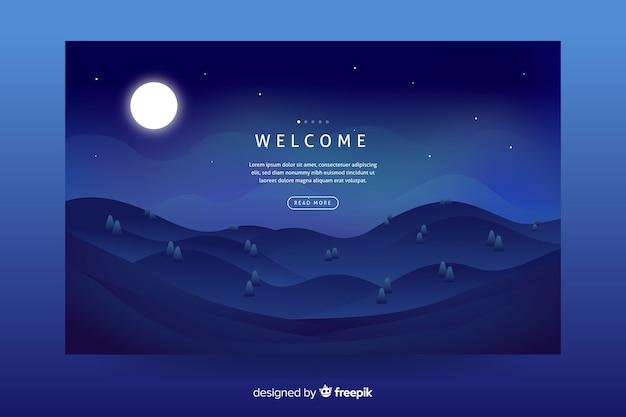 Fundo de paisagem gradiente azul escuro para página de destino