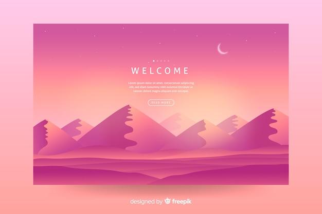 Fundo de paisagem gradiente rosa para página de destino