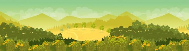 Fundo de paisagem montanhosa em dia de sol