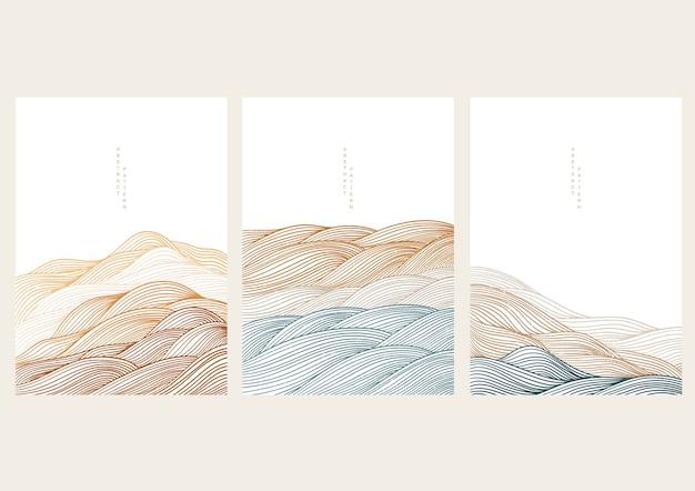 Fundo de paisagem natural com onda japonesa. floresta de montanha com modelo abstrato. desenho de banner de padrão de linha.