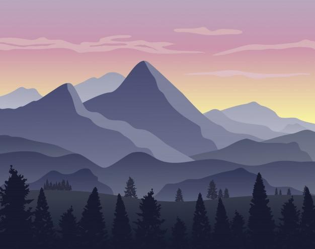 Fundo de paisagem natural com silhuetas de montanhas