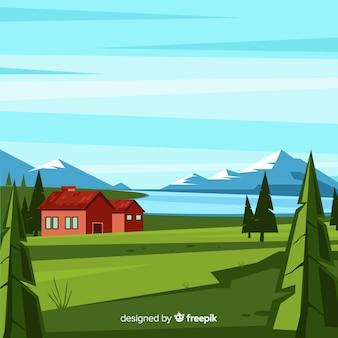 Fundo de paisagem natural design plano