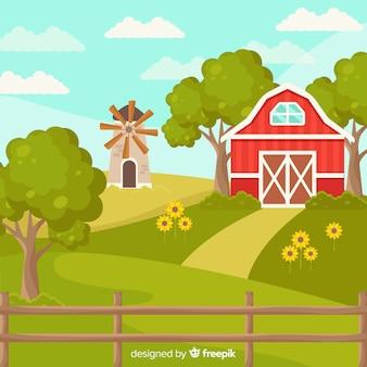 Fundo de paisagem plana fazenda ensolarada