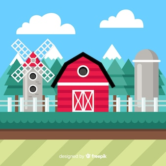 Fundo de paisagem plana fazenda