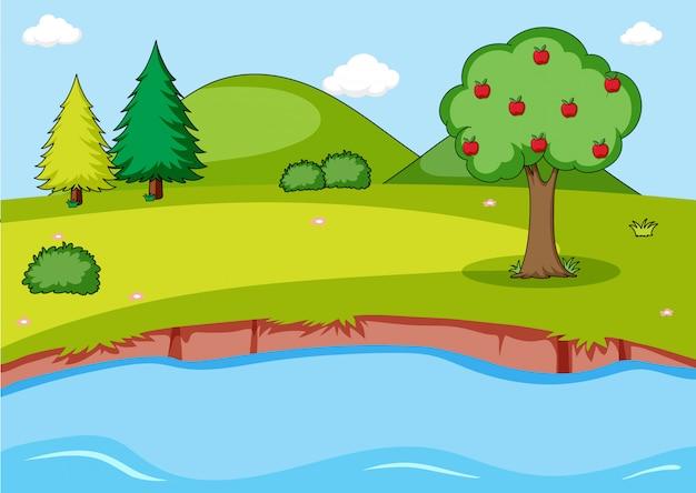 Fundo de paisagem simples natureza