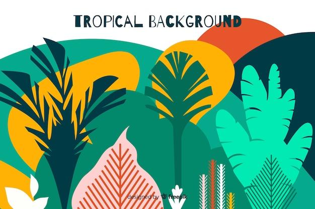 Fundo de paisagem tropical desenhada de mão
