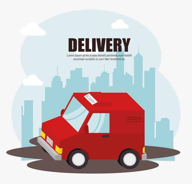 Fundo de paisagem urbana de entrega de caminhão