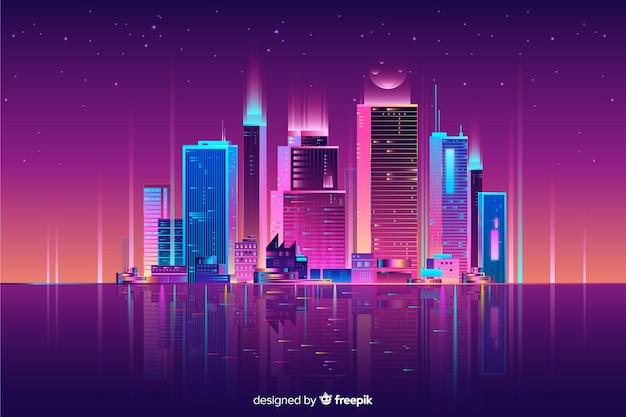 Fundo de paisagem urbana de néon