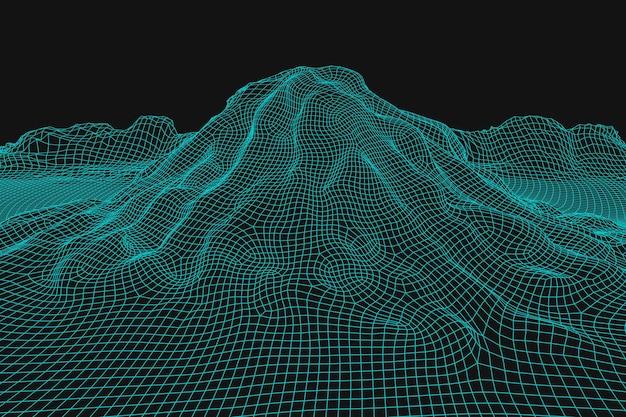 Fundo de paisagem wireframe abstrato 3d futurista de montanhas mesh