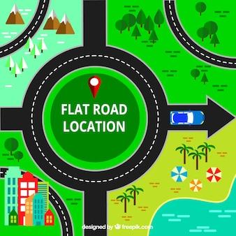 Fundo de paisagens diferentes com a estrada no design plano