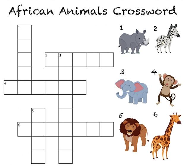 Fundo de palavras cruzadas de animais africanos