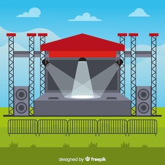 Fundo de palco ao ar livre com iluminação em design plano