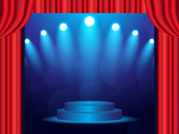 Fundo de palco azul com cortinas fechadas e holofotes
