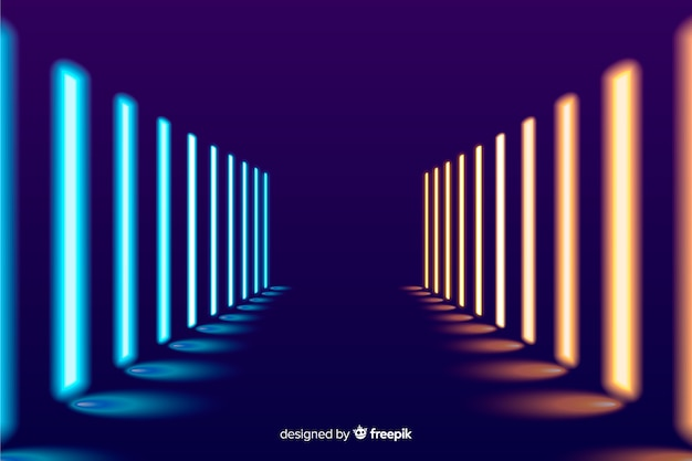 Fundo de palco brilhante luzes de neon