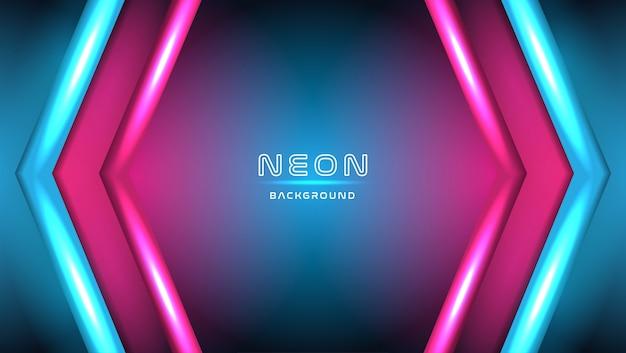 Fundo de palco de luzes de néon com formas de seta