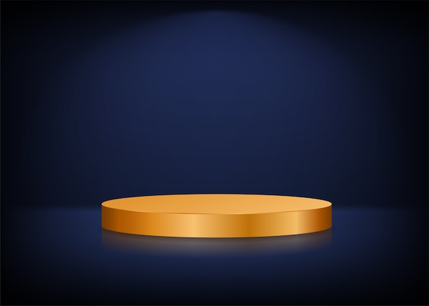 Fundo de palco vazio. pódio redondo dourado para apresentação.