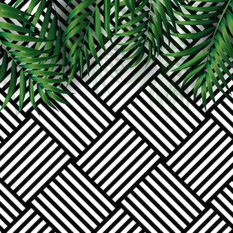 Fundo de palmeiras naturais tropicais. ilustração