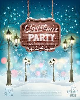 Fundo de panfleto de festa natalícia de natal com paisagem de inverno à noite.