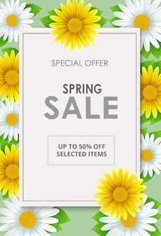 Fundo de panfleto de venda de primavera com bela flor
