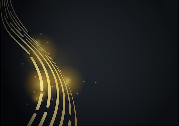 Fundo de pano preto e dourado. deformado acenando uma linha brilhante listras preto ouro fundo vector