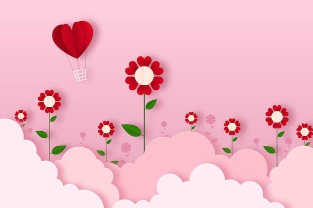 Fundo de papel artesanal de flor de coração dia dos namorados