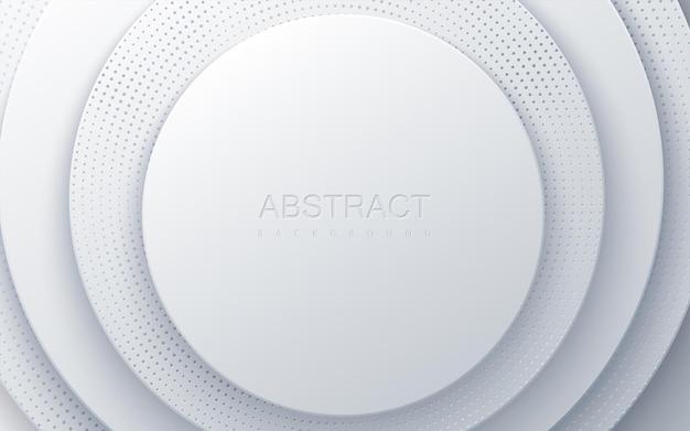 Fundo de papel branco com camadas de círculo