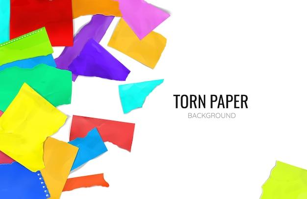 Fundo de papel colorido rasgado e rasgado