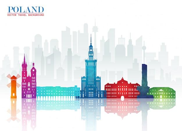 Fundo de papel da polónia, landmark global travel and journey