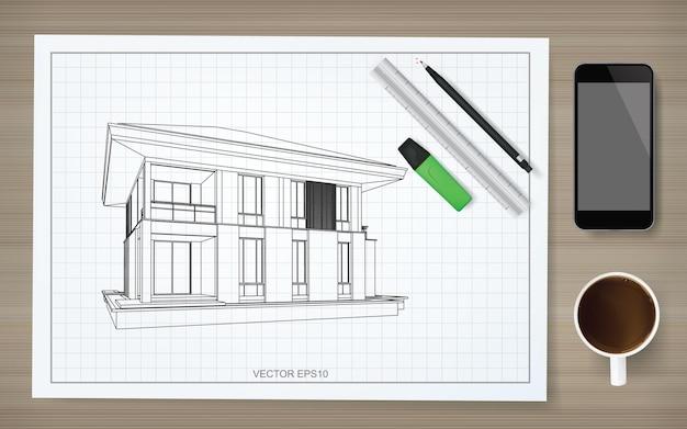 Fundo de papel de construção da planta com imagem da casa de estrutura de arame. idéia gráfica de construção abstrata. ilustração vetorial.