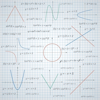 Fundo de papel de gráficos e fórmulas de matemática