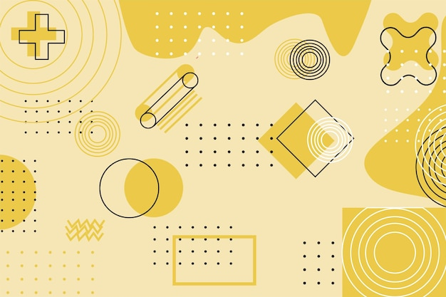 Fundo de papel de parede de ilustração geomtrica moderna e futurista com cor amarelo pastel adequado para jogos ou educação