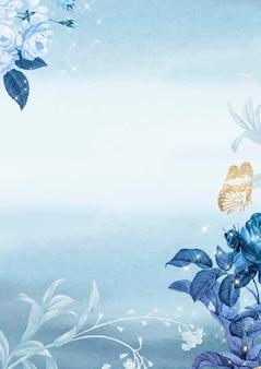 Fundo de papel de parede de pôster de flores, vetor de design estético, remixado de imagens vintage de domínio público