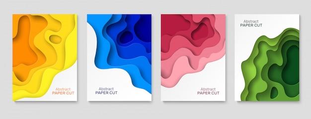 Fundo de papel de recorte. papel abstrato corta formas, coloridas camadas curvas com sombra. papéis de corte arte papel de parede criativo