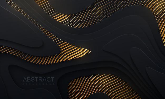 Fundo de papel preto abstrato com camadas onduladas e padrão dourado