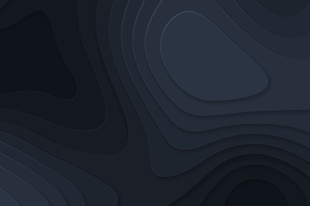 Fundo de papel preto de corte geométrico, conceito de mapa de topografia.