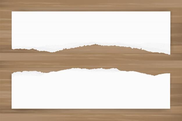 Fundo de papel rasgado na textura de madeira marrom. borda de papel rasgado.
