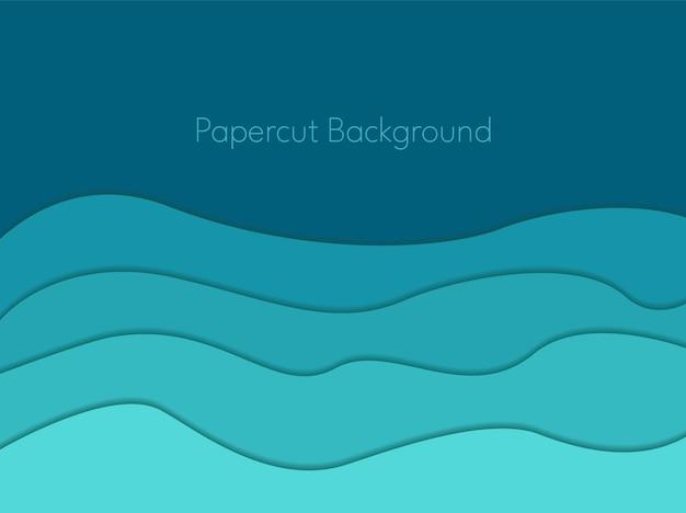 Fundo de papel recortado com ondas abstratas azuis