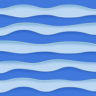 Fundo de papel recortado de camadas onduladas azuis abstratas.