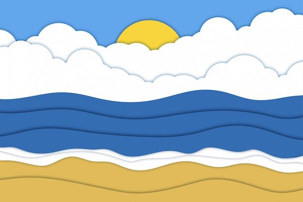 Fundo de papel recortado em nuvem de céu de praia com mar e sol