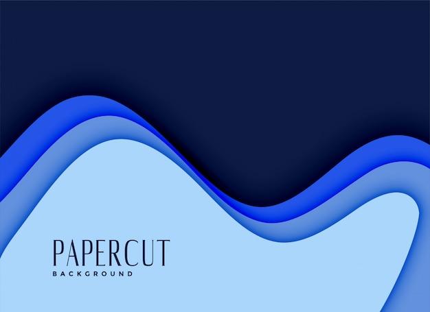Fundo de papercut 3d em tons de azuis